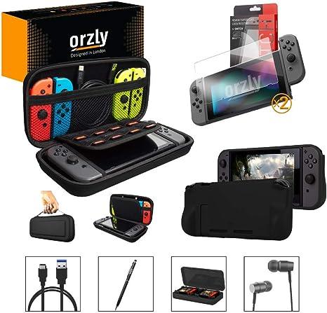 Orzly Pack Esencial de Accesorios para Nintendo Switch [Incluye: Protectores de Pantalla, Cable USB, Funda para Consola, Estuche Tarjetas de Juego, Funda Comfort Grip, Auriculares] – Negro: Amazon.es: Electrónica