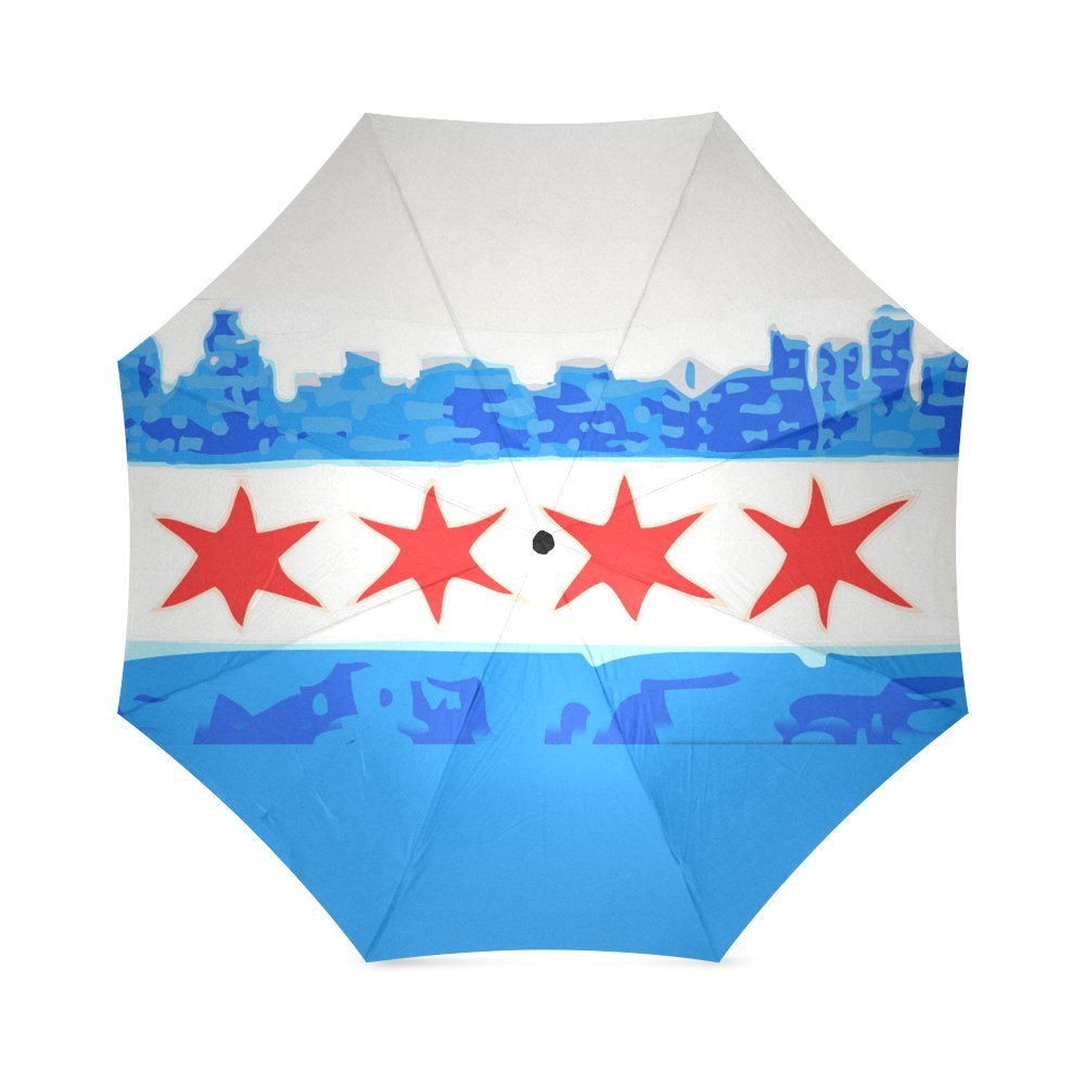 Amazon Friends Novelty Birthday Gifts City Skyline Chicago Flag 100 Fabric And Aluminium Foldable High Quality Umbrella Clothing