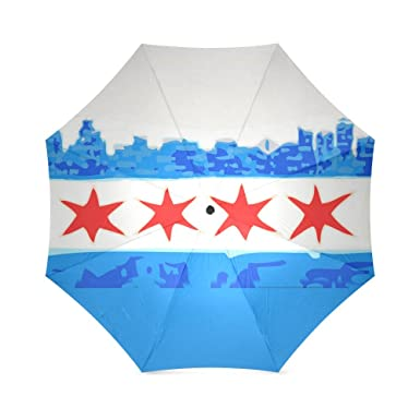Friends Novelty Birthday Gifts City Skyline Chicago Flag 100 Fabric And Aluminium Foldable High