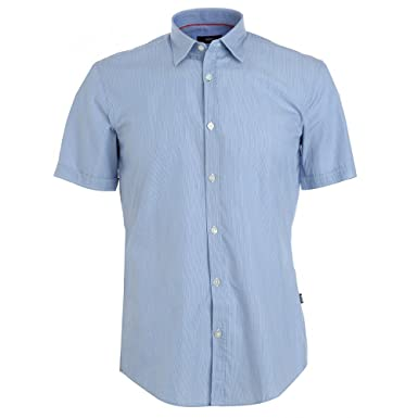 a4dfddea3 Image Unavailable. Image not available for. Colour: BOSS Hugo Black Shirt,  Blue Micro ...