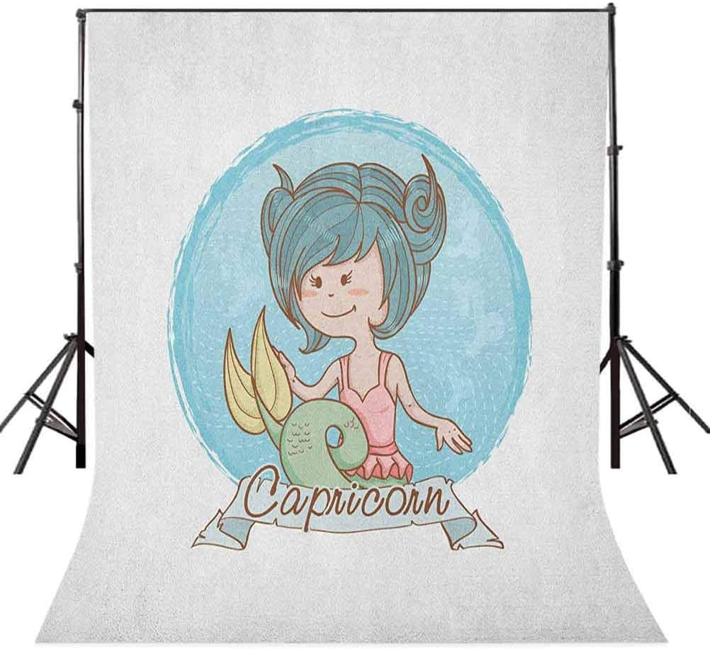 7x10 FT Zodiac Capricorn Vinyl Photography Backdrop,Pastel Toned Mermaid Girl on a Pale Background Astrology Themed Banner Background for Baby Birthday Party Wedding Graduation Home Decoration