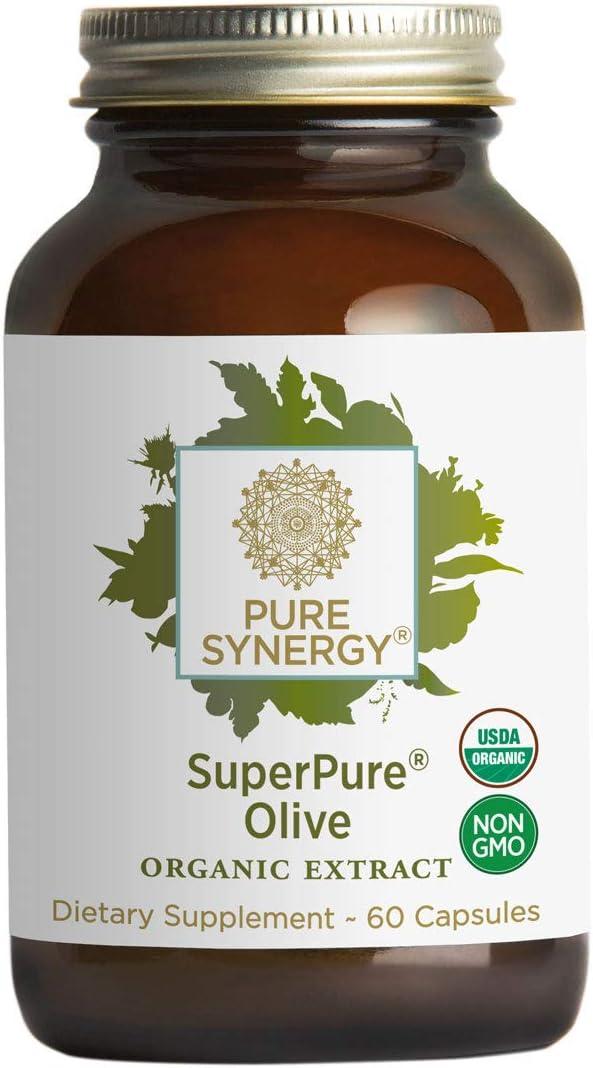 Pure Synergy USDA Organic SuperPure Olive Leaf, Oil, Fruit Extract (60 Capsules) w/Oleuropein & Hydroxytyrosol
