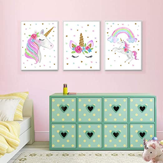 """EVAIL Unicorn Wall Posters Rainbow Unicorn Canvas Wall Art Prints Painting  Decoration Pictures Set of 3 (8""""x11.8"""" for Girls Kids Bedroom Nursery Wall  ..."""