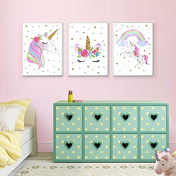 EVAIL Unicorn Wall Posters Rainbow Unicorn Canvas Wall Art Prints Painting  Decoration Pictures Set of 3 (8\u201dx11.8\u201d for Girls Kids Bedroom Nursery Wall