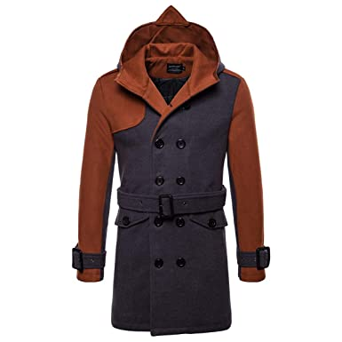 a1ed0b7e283 AOWOFS Men s Winter Mid Long Woolen Coat Double Breasted Warm Overcoat  Stitching Color Trench Coat Camel
