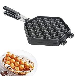 ixaer Egg Bubble Waffle Maker Pan, Egg Baking Mold, Egg Cake Machine, Commercial Gas Egg Mold