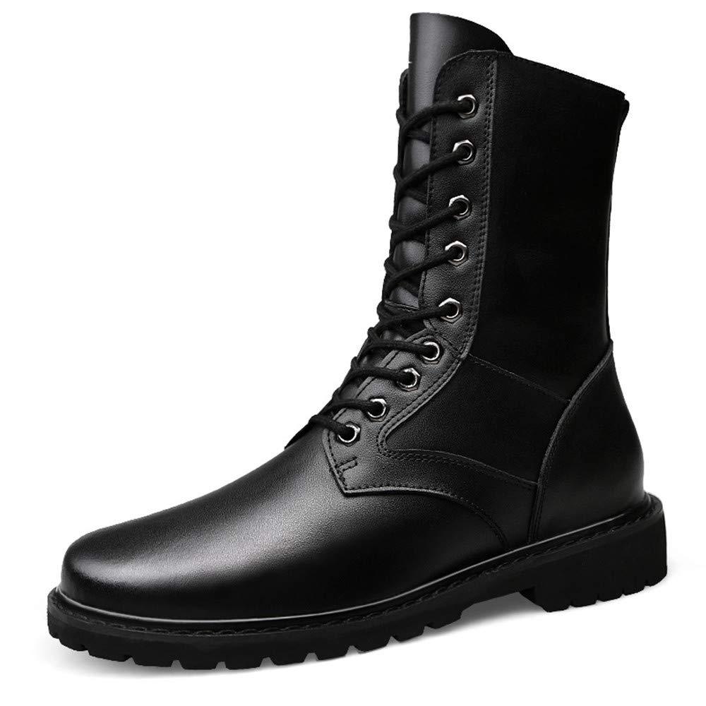 XHD-Schuhe Herrenmode Mitte Mitte Herrenmode der Wade Stiefel Casual Upgrade Eedition Echtleder Nachahmung Armee Stiefel (warme Samt optional) (Farbe   Schwarz, Größe   46 EU) 1f62c7