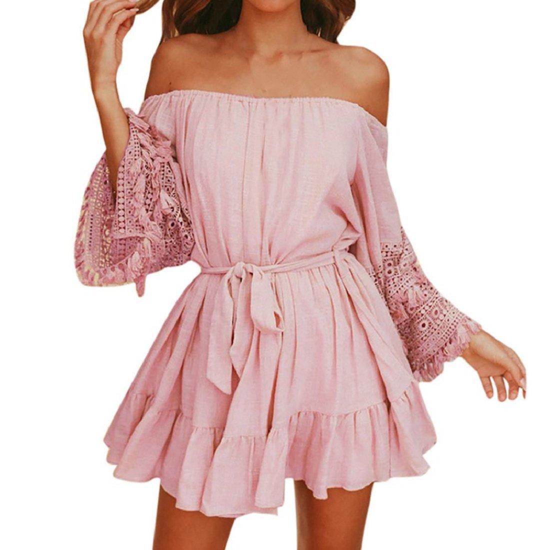 428418bdf6aa Amazon.com: Women's Dresses, GONKOMA Clearance Summer Lace Off Shoulder  Dress Evening Party Beach Short Mini Dress (M, Pink): Clothing