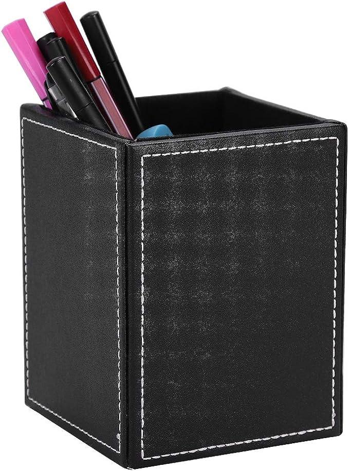 GORESE Pot /à crayons Organisateur de bureau en PU Cuir P103B1-Blanc