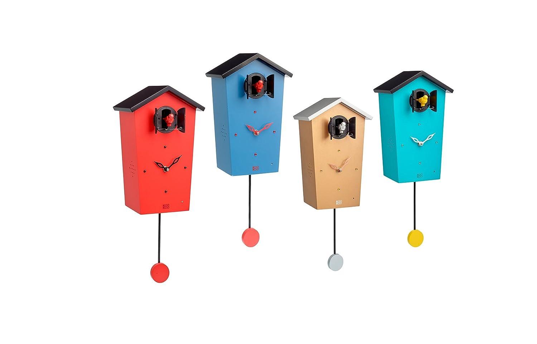 62ae253fc KOOKOO Birdhouse Azul Oscuro, Reloj cucu Design Moderno, Sonidos de 12 Aves  o el Cuco, Reloj pájaros cantores c. péndulo, grabaciónes Naturales de ...