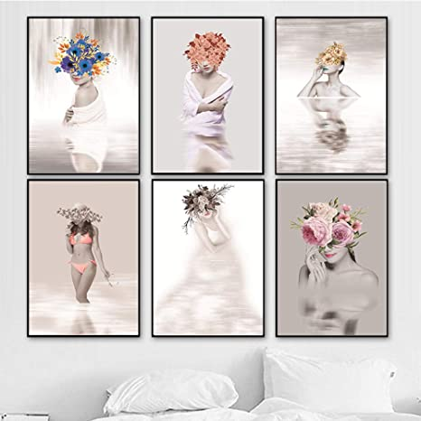 Amazon Com Abstract Flower Fairy Women Canvas Painting Wall Art Nordic Pictures For Living Room Girls Home Decor Posters And Prints 30x45cmx6 No Frame