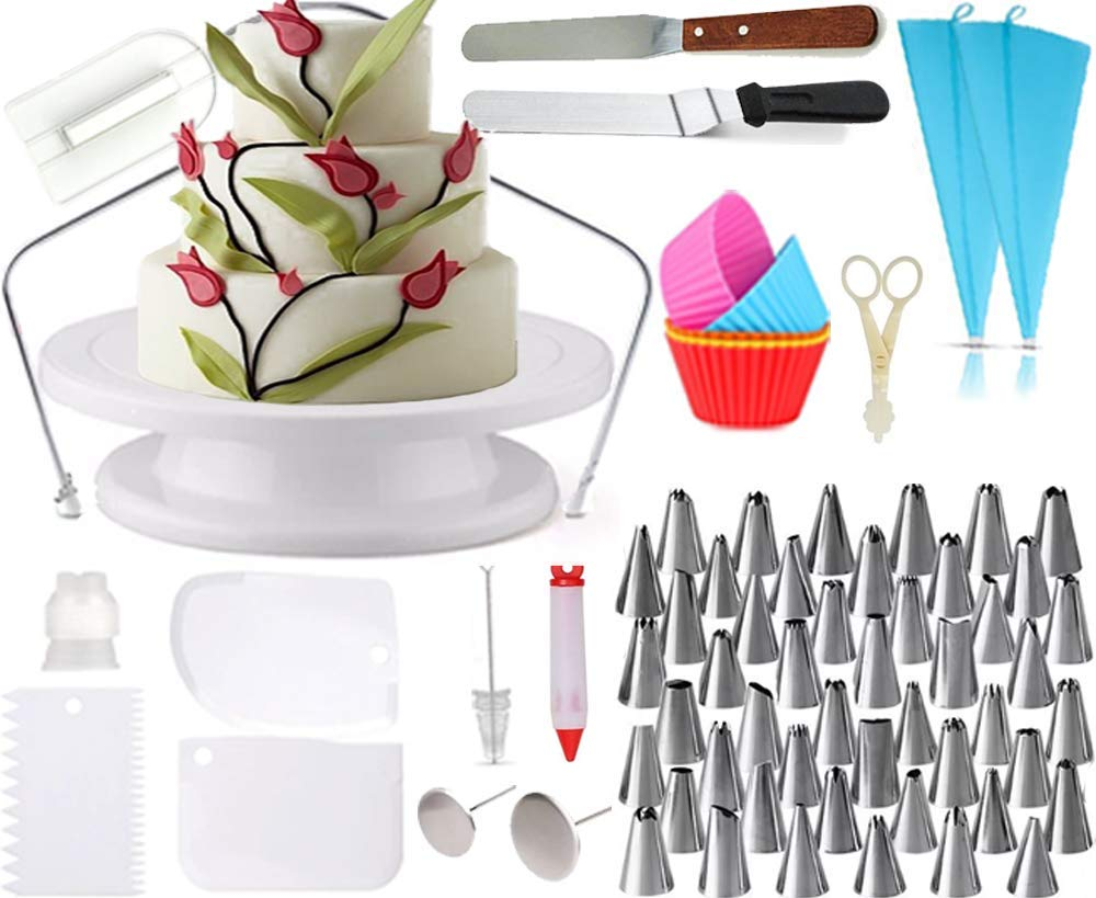 All-in-One Cake Decorating Supplies. Decorate Cakes, Cupcakes, Cookies or Pastry   48 Icing Tips   5 Silicon Cupcake Molds   Rotating Turntable Stand   2 Silicon Piping Bags   Cake Decorating Kit