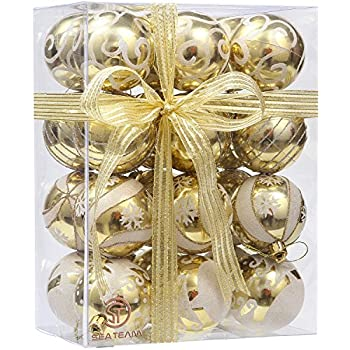 """Sea Team 60mm/2.36"""" Delicate Painting & Glittering Shatterproof Christmas Ball Ornaments Decorative Hanging Christmas Ornaments Baubles Set for Xmas Tree - 24 Counts (Gold)"""
