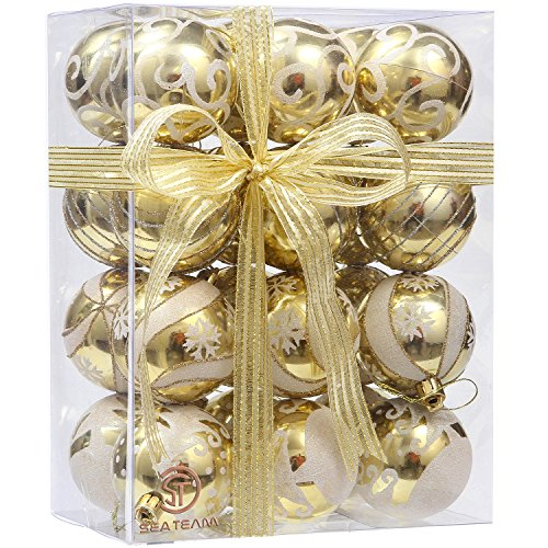 Sea Team 60mm/2.36 Delicate Painting & Glittering Shatterproof Christmas Ball Ornaments Decorative Hanging Christmas Ornaments Baubles Set for Xmas Tree - 24 Counts (Gold)