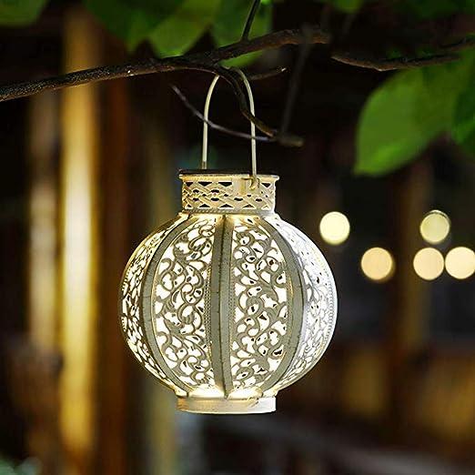 Dizie - Farol solar LED para exterior, lámpara solar de jardín, exterior, impermeable, colgante, iluminación decorativa hexagonal, para jardín, patio, césped, pasillo, camino, color blanco cálido.: Amazon.es: Iluminación