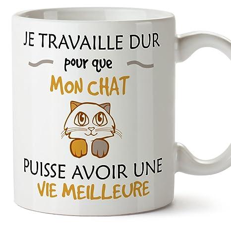 MUGFFINS Gato Taza Desayuno Original Tazas en francés - Trabajo Duro para Que mi Gato Pueda