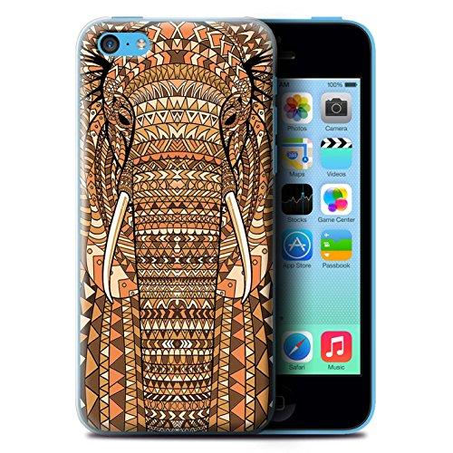 Coque de Stuff4 / Coque pour Apple iPhone 5C / éléphant-Orange Design / Motif Animaux Aztec Collection