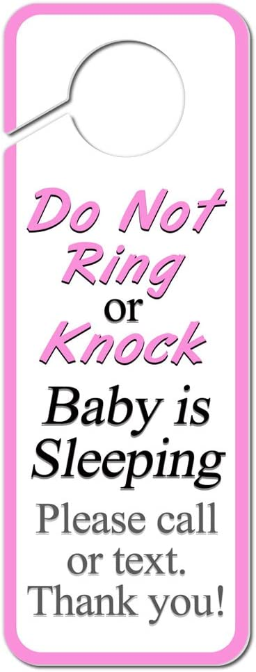Graphics and More Do Not Ring or Knock Pink Baby is Sleeping Please Call or Text Plastic Door Knob Hanger Sign