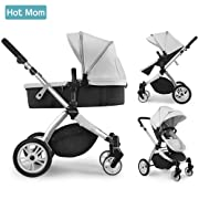 Infant Toddler Baby Stroller Carriage,Hot Mom Stroller 2 in 1 pram seat with Bassinet,Grey ¡