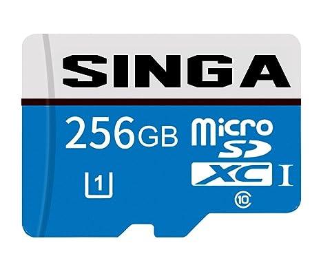 Singa - Tarjeta Micro SD de 256 GB de alta velocidad, Clase 10 Micro SD SDXC, Tarjeta de memoria TF con adaptador SD