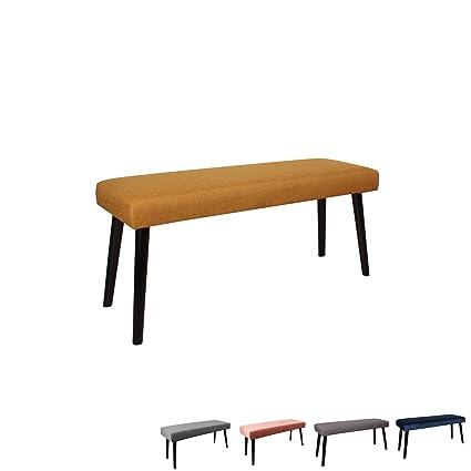 Nimara Gepolsterte Samt Sitzbank mit schwarzen Beinen   Perfekt für  Esszimmer und Schlafzimmer und als Deko Bank   Erhältlich in grau,  dunkelblau, ...