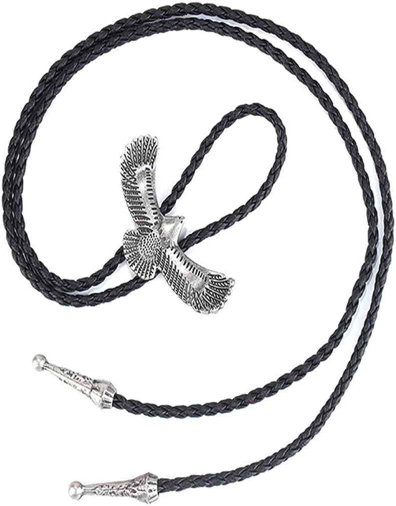 Regalo de San Valent/ín para Hombres joymiao Collar Vintage de Cuero para Hombre y Mujer Bolo Western Cowboy Rodeo Piel Cool Regalo