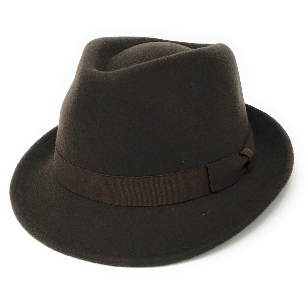 Cotswold Country Hats Trilby Hat - 100% Wool Felt Camden Crushable Trilby for Men - Black, Brown, Camel, Grey, Navy. Choice of Sizes