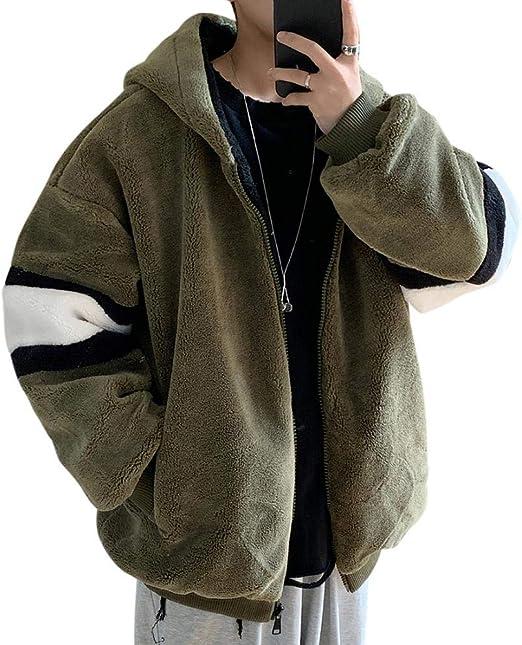 BEUWAYS ブルゾン ジャンパー 厚手 ボアジャケット メンズ アウター 冬 コート もこもこ 防寒着 トップス ゆったり フード付き ジャケット ブルゾン バイカラー 学生 韓国ファッション