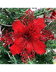 Artificial Flowers Christmas Tree Decorations Glitter Poinsettia Flowers