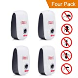 (4-pack) Ultrasonic Pest Repellent Electro Magnetic Natural Indoor Pest Control-Electronic Plug In Repellent for Insects, Roaches , Flies, Ants, Spiders, Mice, Bugs, Non-toxic, Environment-friendly, Humans & pets safe