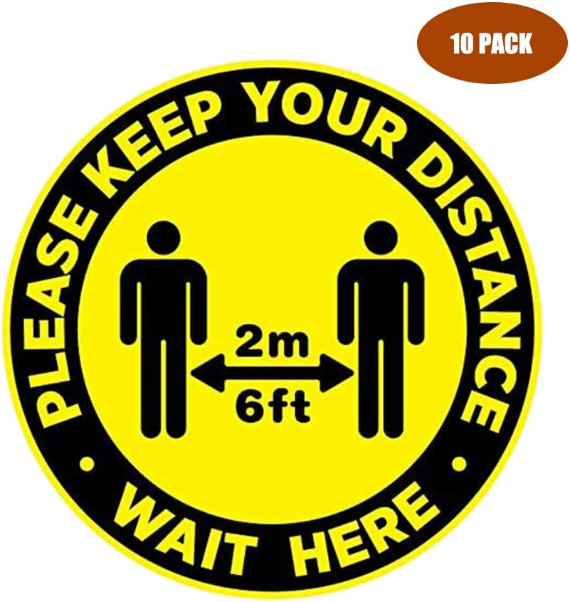 10 Pcs Social Distancing Floor Stickers 11 inch Distance Notice Decals Round Adhesive Anti-Slip Safety Signs Yellow Marker for Crowd Control Guidance Businesses Restaurants Bank Hospitals