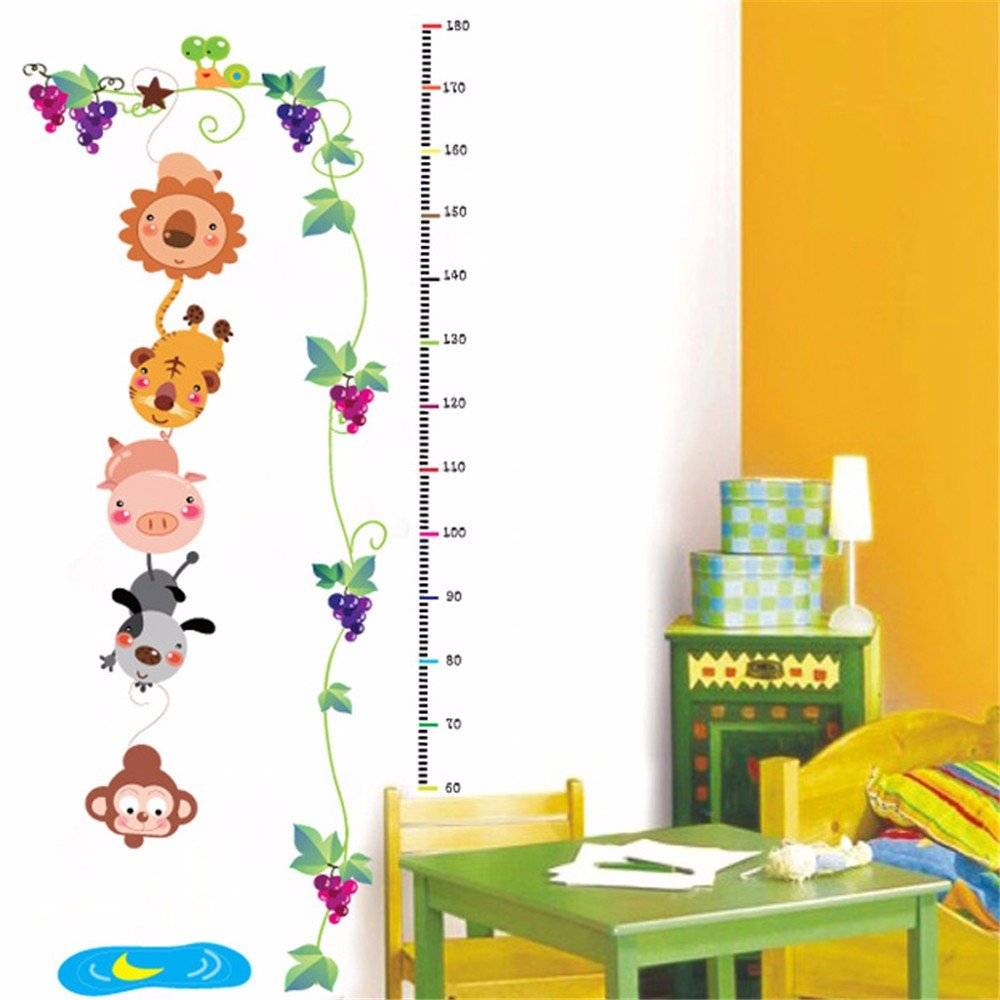 IndButy Wall Stickers Removable child room height wall sticker baby bedroom wall sticker cartoon animal height wall sticker painting 6090CM