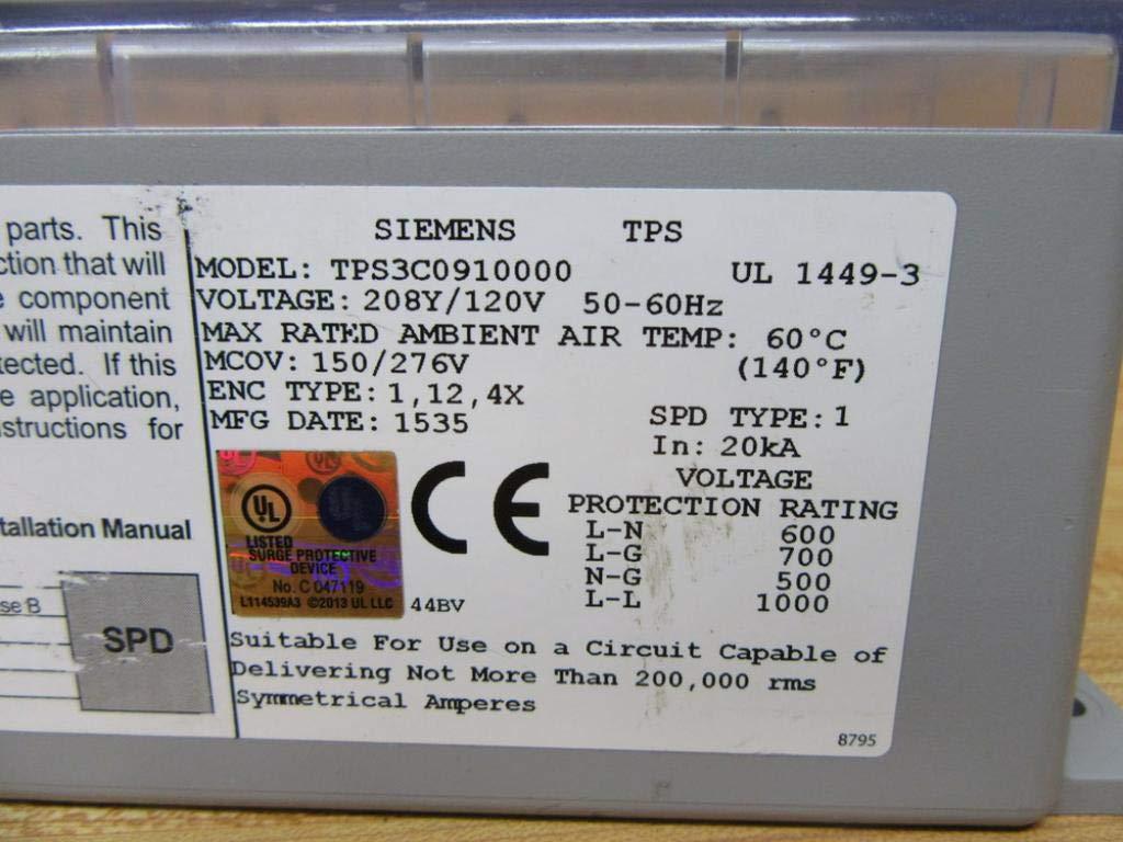 SIEMENS TPS3C0910000 SPD1 09 INT 120//208V 100KA