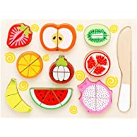 Akrobo Wooden 9 Pieces Magnetic Sliceable Fruit Cutting Game Kitchen Set Toy for Kids with Wooden Chopping Board and Knife