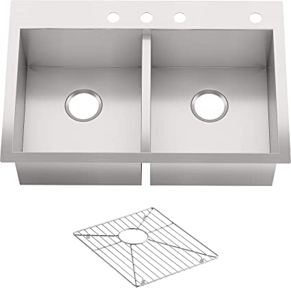 Kohler Vault Stainless Steel 33 Double Bowl Kitchen Sink With Four Faucet Holes K 3820 4 Na Drop In Or Undermount Installation 9 Inch Bowl