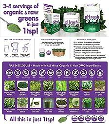 pHresh greens Organic Raw Alkalizing Superfood, 2 Month Supply, Non-GMO and Gluten Free - 10oz