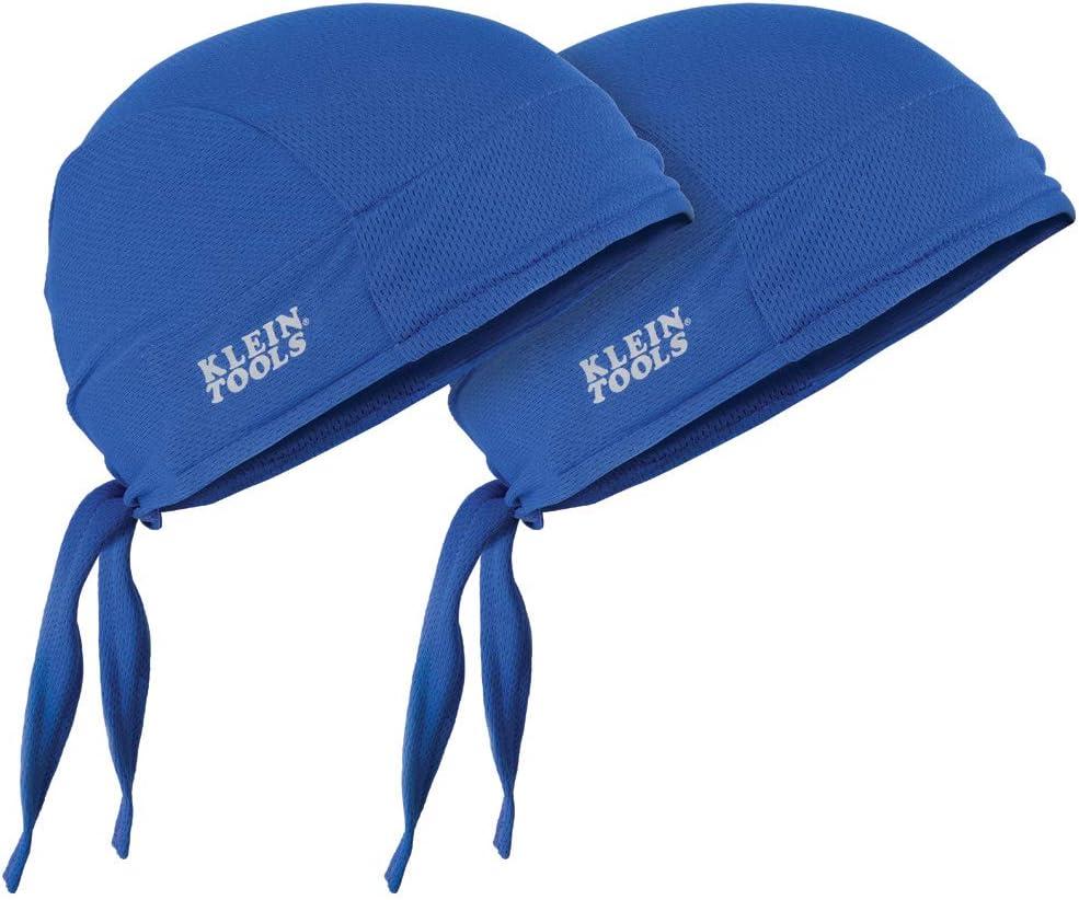Klein Tools 60180 Cooling Do Rag, Adjustable Sweat Wicking Skull Cap can be Worn Under Helmet, 2-Pack