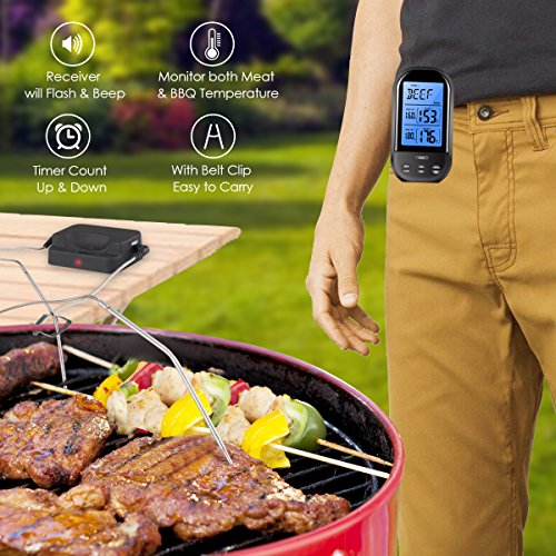AMIR Wireless Meat Thermometer, Barbecue Thermometer, Oven Thermometer, Digital Instant Read Thermometer with Waterproof Probe for Kitchen Cooking, BBQ, Poultry, Grill, Bowls, Foldable, Black by AMIR (Image #4)