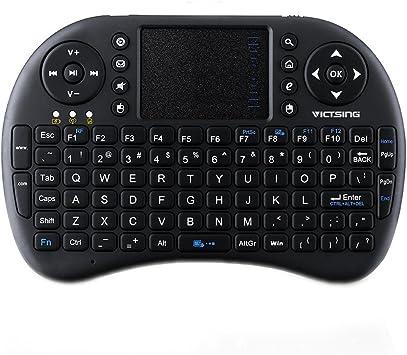 VicTsing - Mini teclado QWERTY de 2.4 GHz - Teclado multifuncional inalámbrico con Touchpad de alta sensibilidad, retroalimentación LED, batería ...