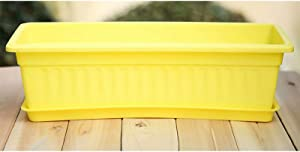 24 Inches Window Flower Box Planter for Balcony ,Windowsill ,Garden,Planter Box for Herbs Succulents Vegetables and Flower Gardening,Yellow