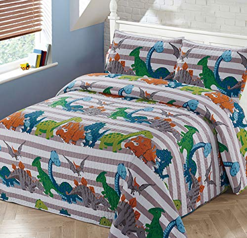 Luxury Home Collection 3 Piece Full/Queen Size Quilt Coverlet Bedspread Bedding Set for Kids Boys Dinosaur Blue White Green Orange Gray by Luxury Home