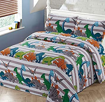 Luxury Home Collection 3 Piece Full Queen Size Quilt Coverlet Bedspread Bedding Set For Kids Boys Dinosaur Blue White Green Orange Gray