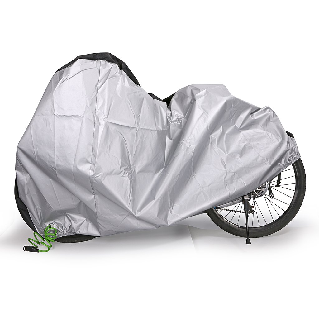 BTSKY Funda para Bicicleta Impermeable en contra de Lluvia Sol Polvo Protección de Cubierta de Bicicleta y Motocicleta Pequeña Resistente Material de Tela Oxford Color Negro/Plateado (Negro)