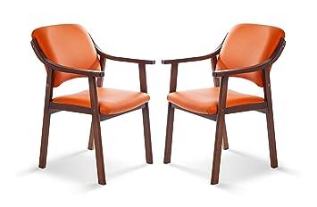 SUENOSZZZ - Pack de 2 Sillas Altea de Madera de Haya, Color Naranja. Sillas para Comedor/Salon/habitacion | Silla geriatrica | Silla Madera | Mueble ...