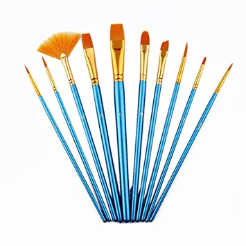 10 Stück Künstler Paint Brush Set Perfekt für Acryl Aquarell Gouache