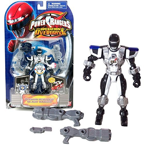 Power Rangers Toy Operation Overdrive (Bandai Year 2007 Power Rangers Operation Overdrive Series 6 Inch Tall Action Figure - Mission Response BLACK RANGER with I.D. Tech Chip Inside and 2 Blaster Rifles)