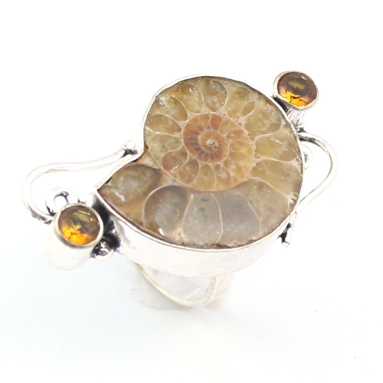 silver-hub Ammonite Designer天然シトリンハンドメイドリングサイズ8仕上げジュエリーシルバーオーバーレイ B079SFQFFX