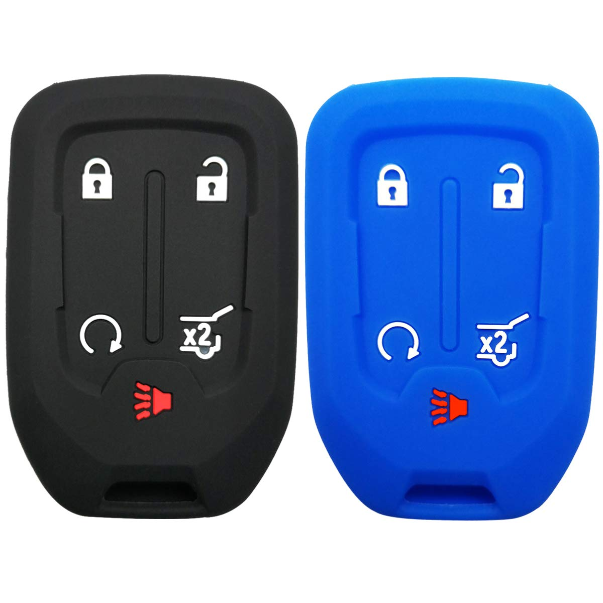 2Pcs Coolbestda Rubber Key Fob Remote Case Cover Keyless Entry Holder Shell for GMC Acadia Terrain Yukon Chevrolet Suburban Tahoe HYQ1AA 13584502 1551A-AA