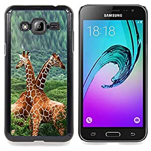 "Qstar Arte & diseño plástico duro Fundas Cover Cubre Hard Case Cover para Samsung Galaxy J3(2016) J320F J320P J320M J320Y (Doble Jirafas"")"