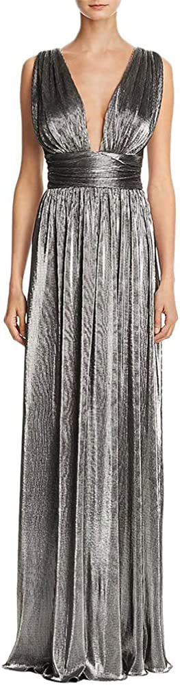 Laundry by Shelli Segal Women's Metallic Deep V Neck Evening Dress